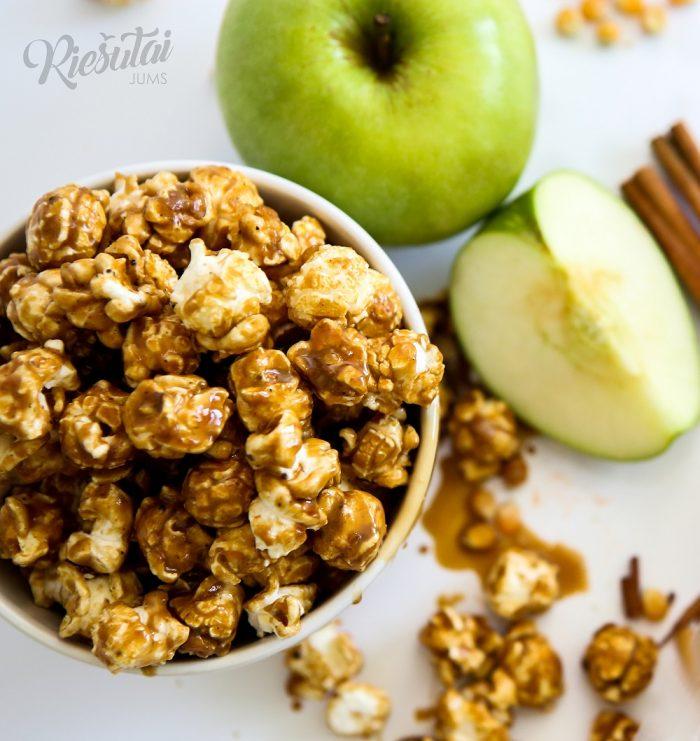 Kukurūzų spragėsiai su karamele, obuoliais ir cinamonu 0.5kg